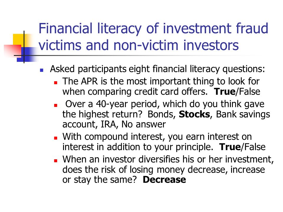 Financial literacy of investment fraud victims and non-victim investors