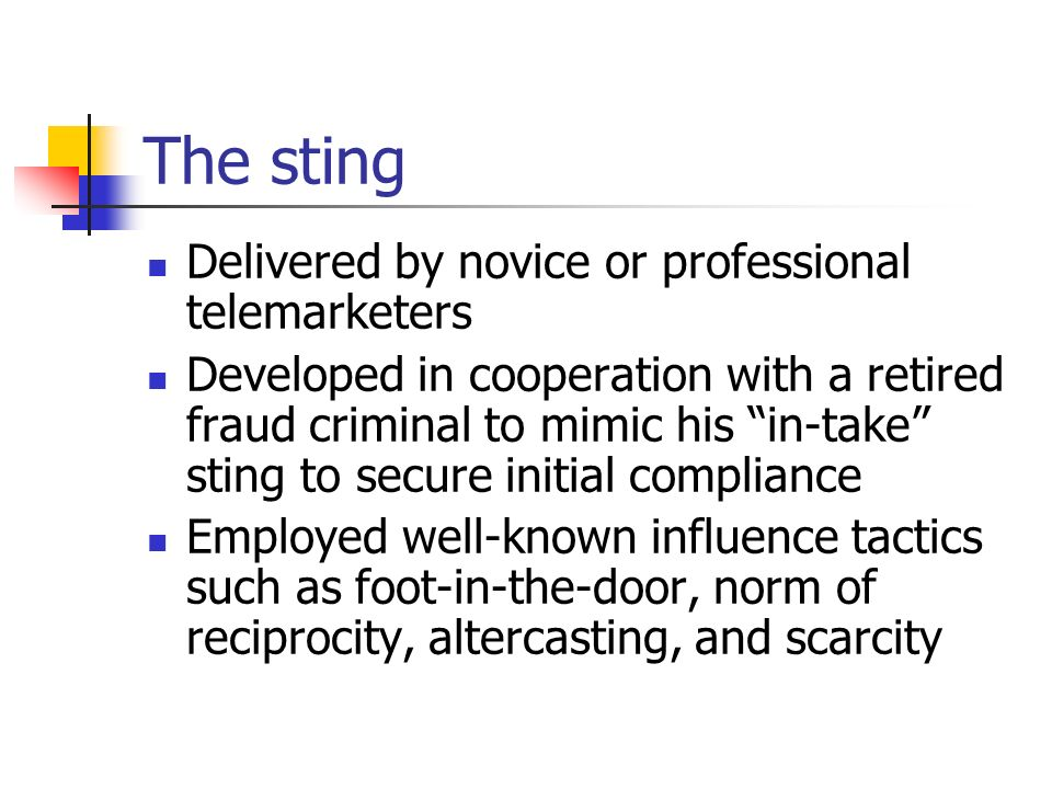 The sting Delivered by novice or professional telemarketers