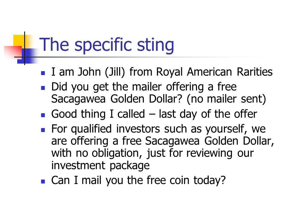 The specific sting I am John (Jill) from Royal American Rarities
