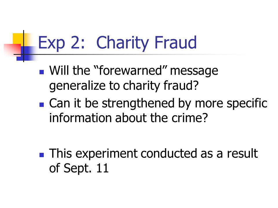 Exp 2: Charity Fraud Will the forewarned message generalize to charity fraud