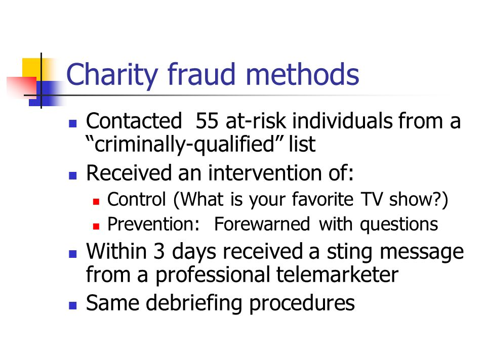 Charity fraud methods Contacted 55 at-risk individuals from a criminally-qualified list. Received an intervention of: