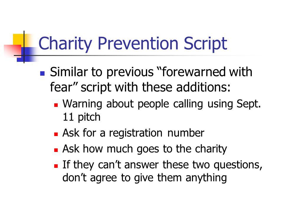 Charity Prevention Script