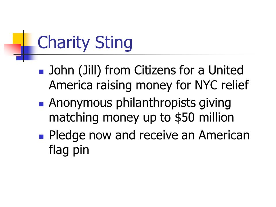 Charity Sting John (Jill) from Citizens for a United America raising money for NYC relief.