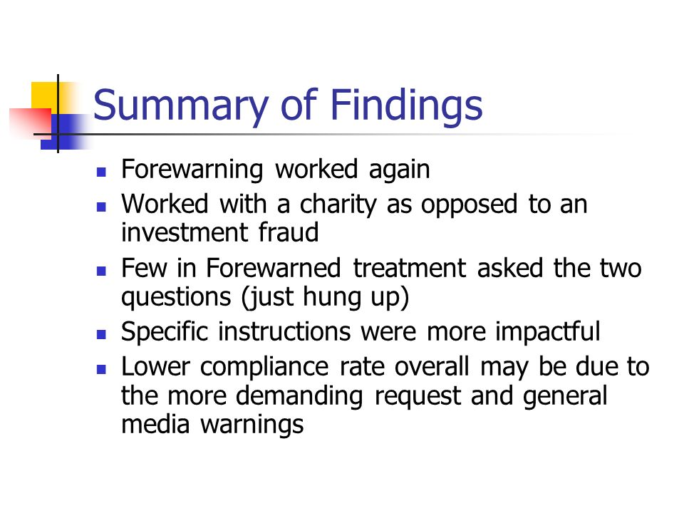Summary of Findings Forewarning worked again