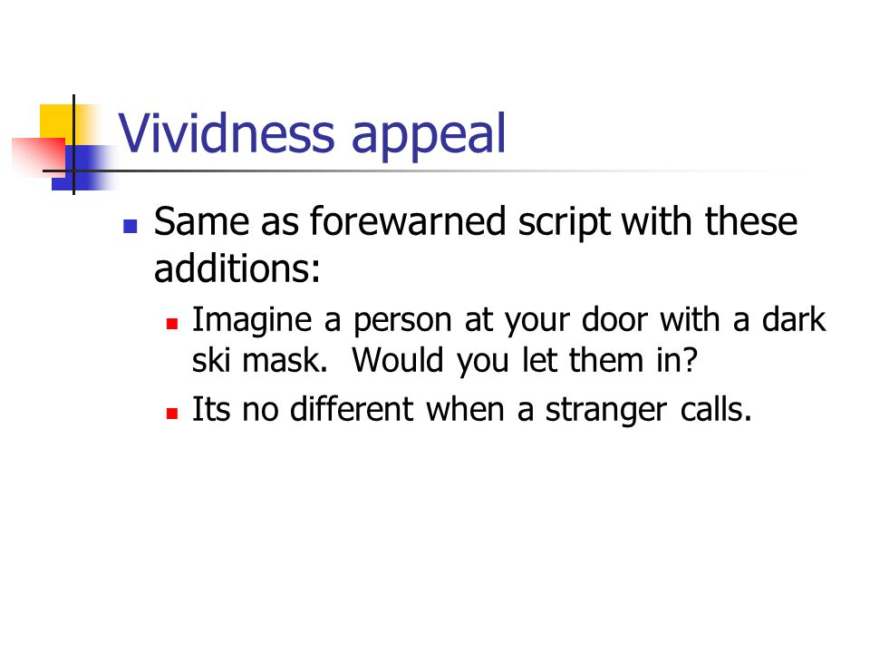 Vividness appeal Same as forewarned script with these additions: