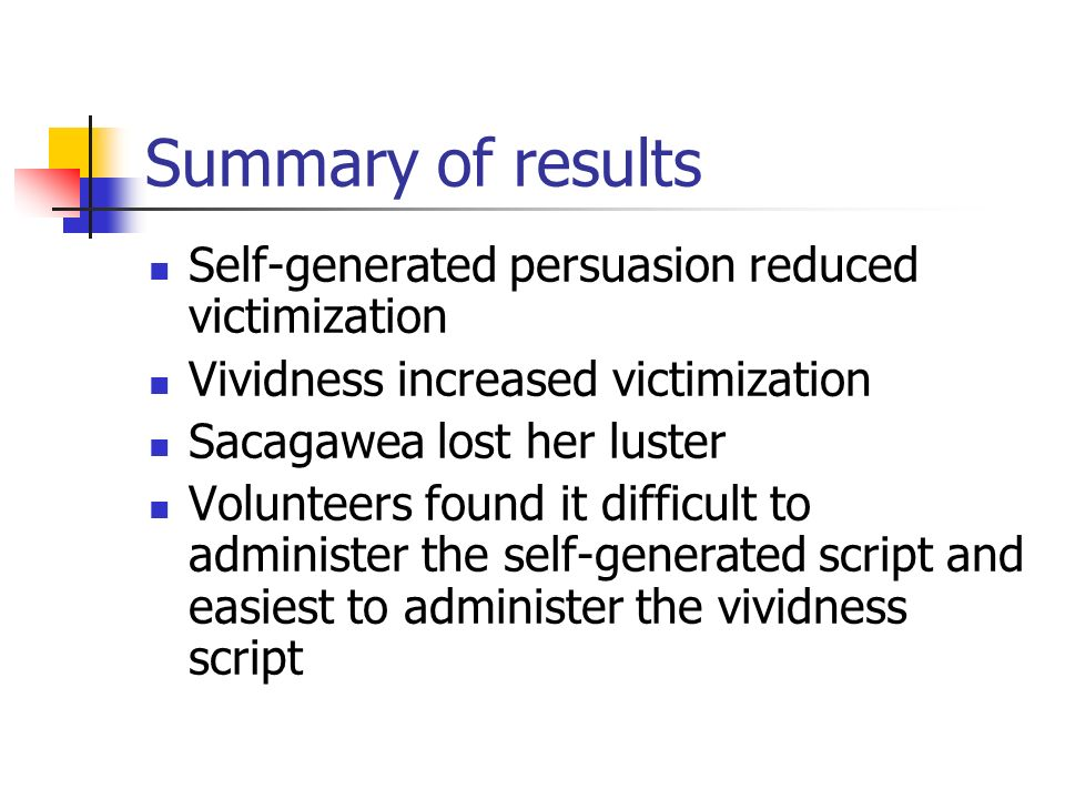 Summary of results Self-generated persuasion reduced victimization