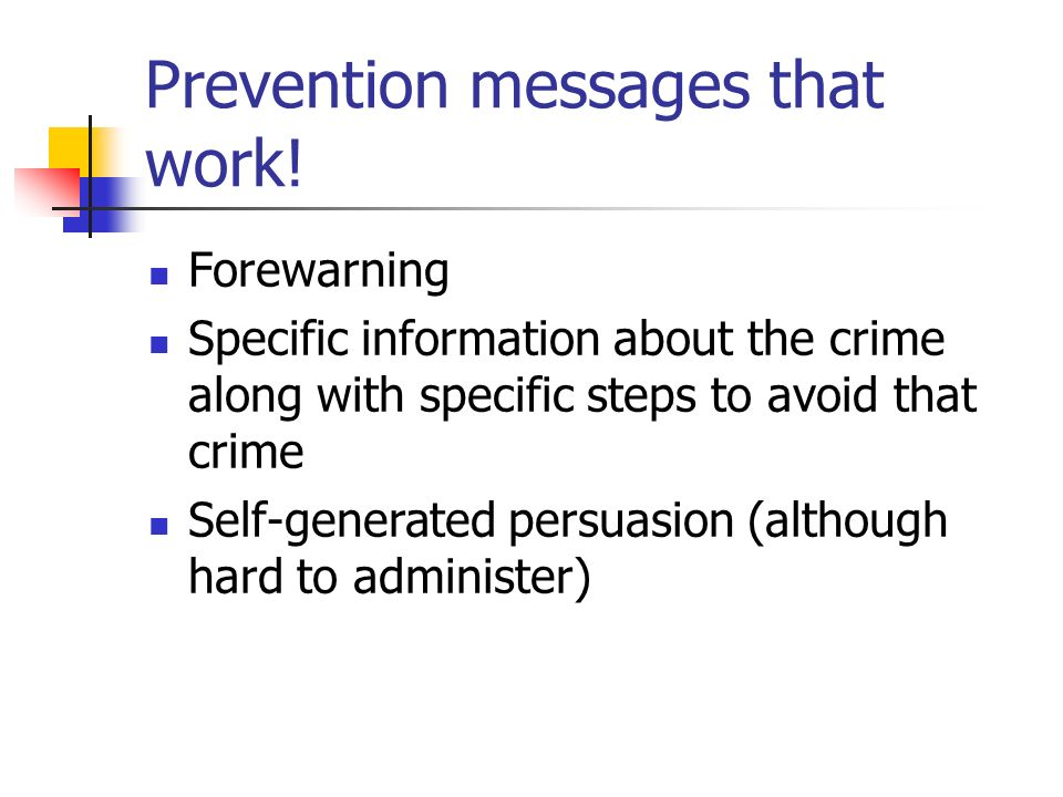 Prevention messages that work!