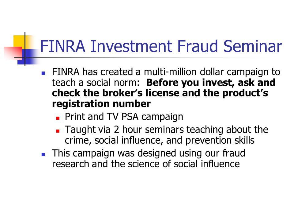 FINRA Investment Fraud Seminar