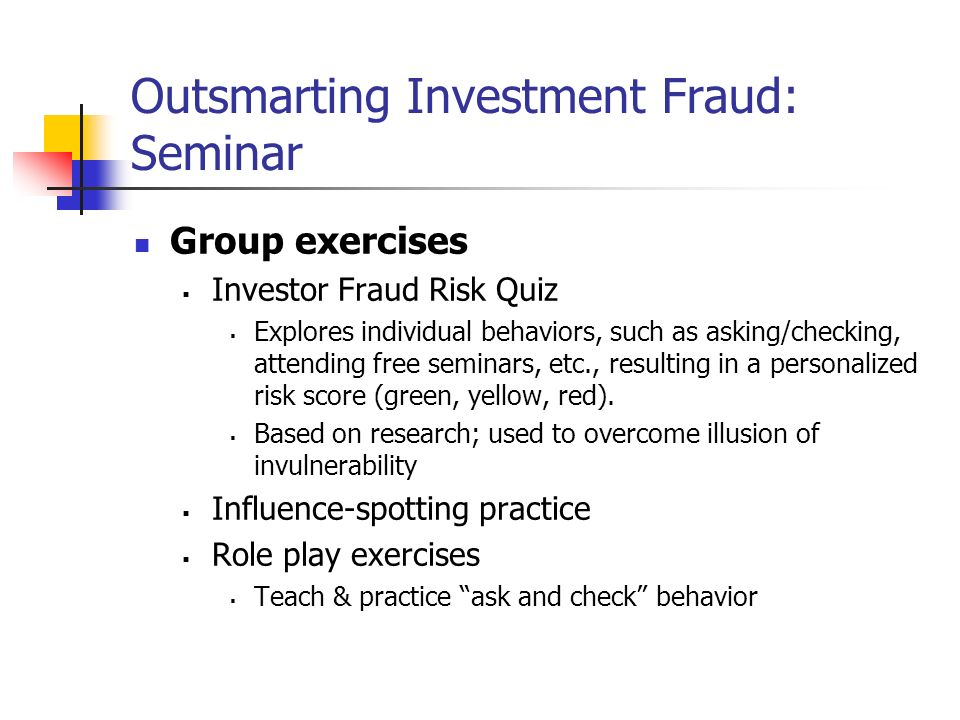 Outsmarting Investment Fraud: Seminar