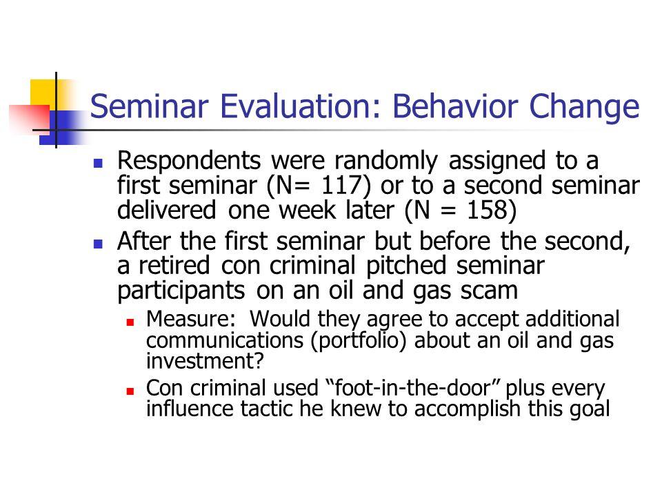 Seminar Evaluation: Behavior Change