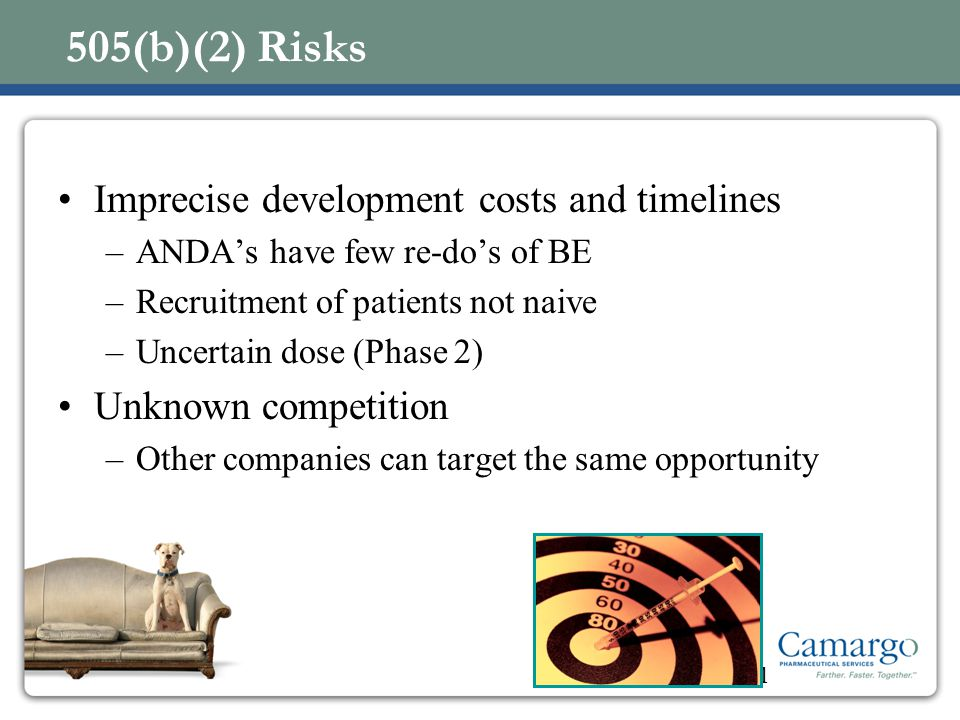 505(b)(2) Risks Imprecise development costs and timelines