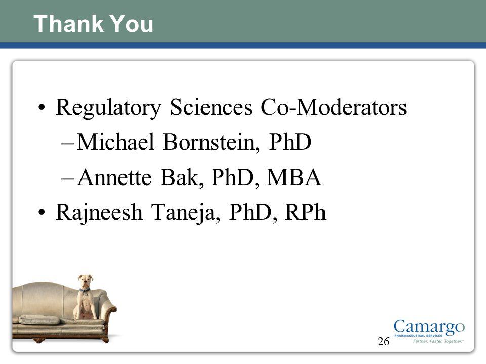 Regulatory Sciences Co-Moderators Michael Bornstein, PhD