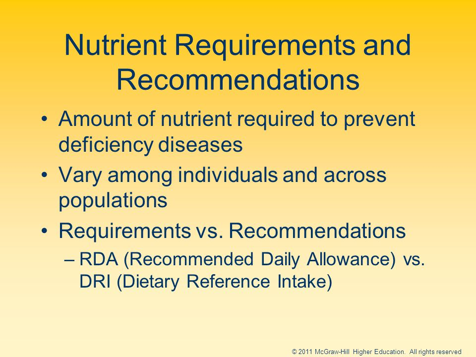 Nutrient Requirements and Recommendations