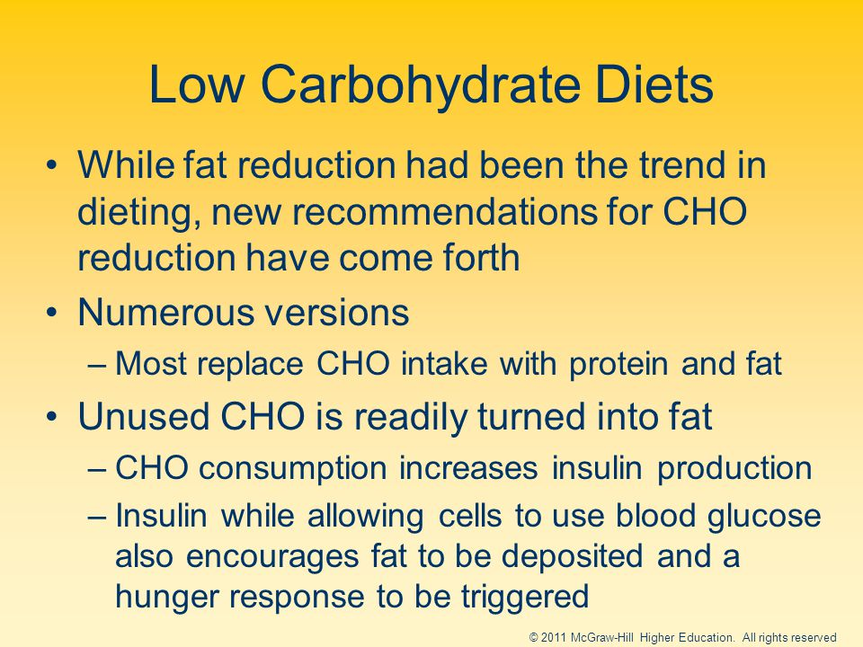 Low Carbohydrate Diets