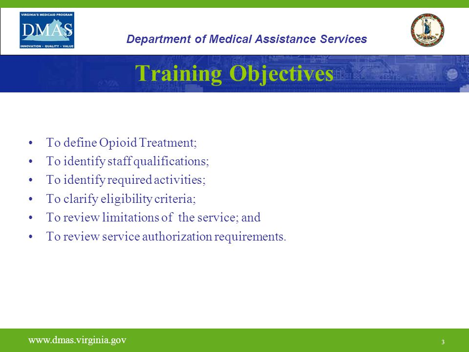 Training Objectives To define Opioid Treatment;