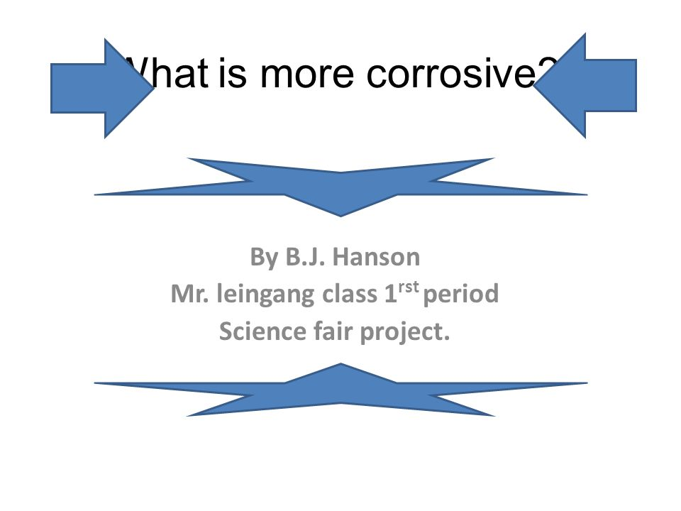 By B.J. Hanson Mr. leingang class 1rst period Science fair project.