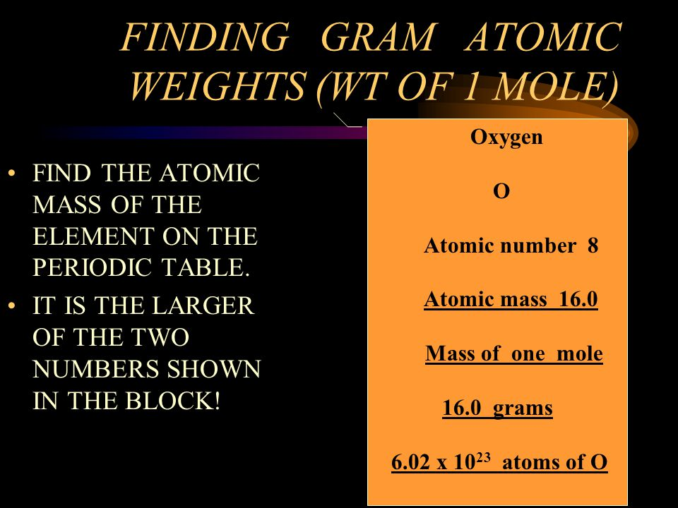 FINDING GRAM ATOMIC WEIGHTS (WT OF 1 MOLE)
