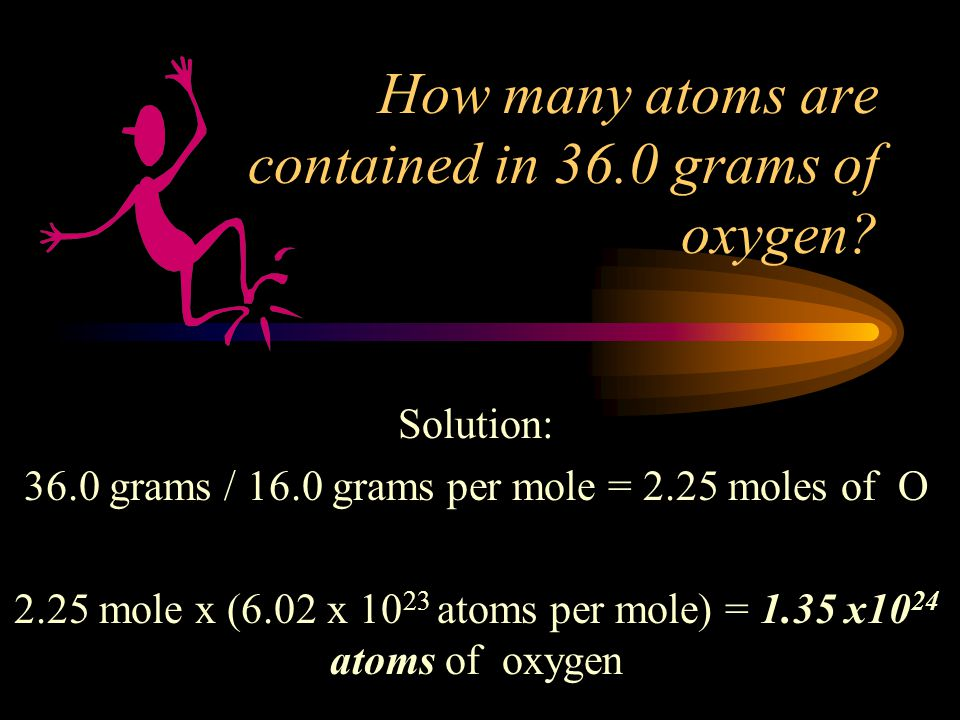 How many atoms are contained in 36.0 grams of oxygen