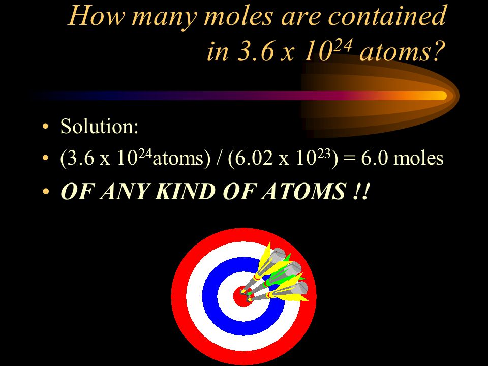 How many moles are contained in 3.6 x 1024 atoms