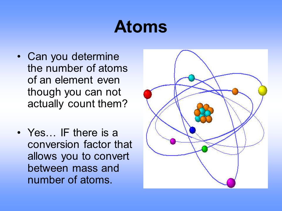 Atoms Can you determine the number of atoms of an element even though you can not actually count them