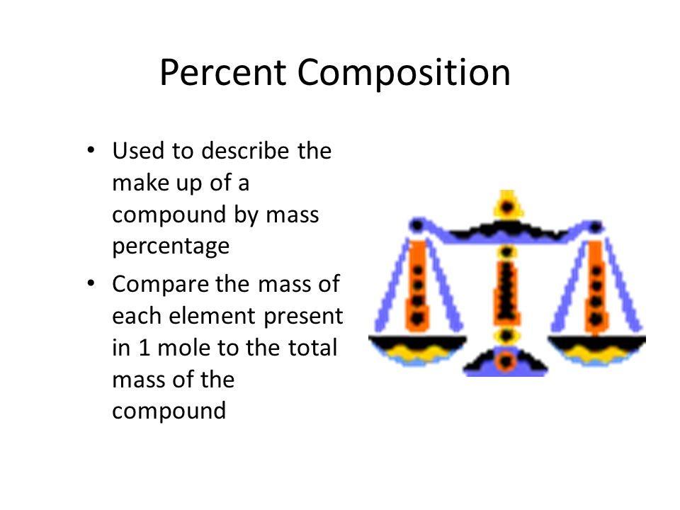 Percent Composition Used to describe the make up of a compound by mass percentage.
