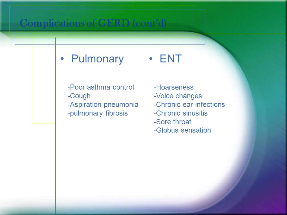Complications of GERD (cont'd)