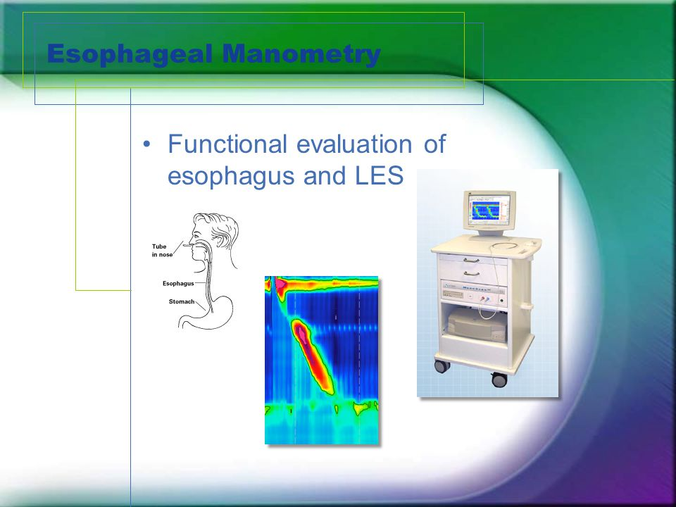 Esophageal Manometry Functional evaluation of esophagus and LES