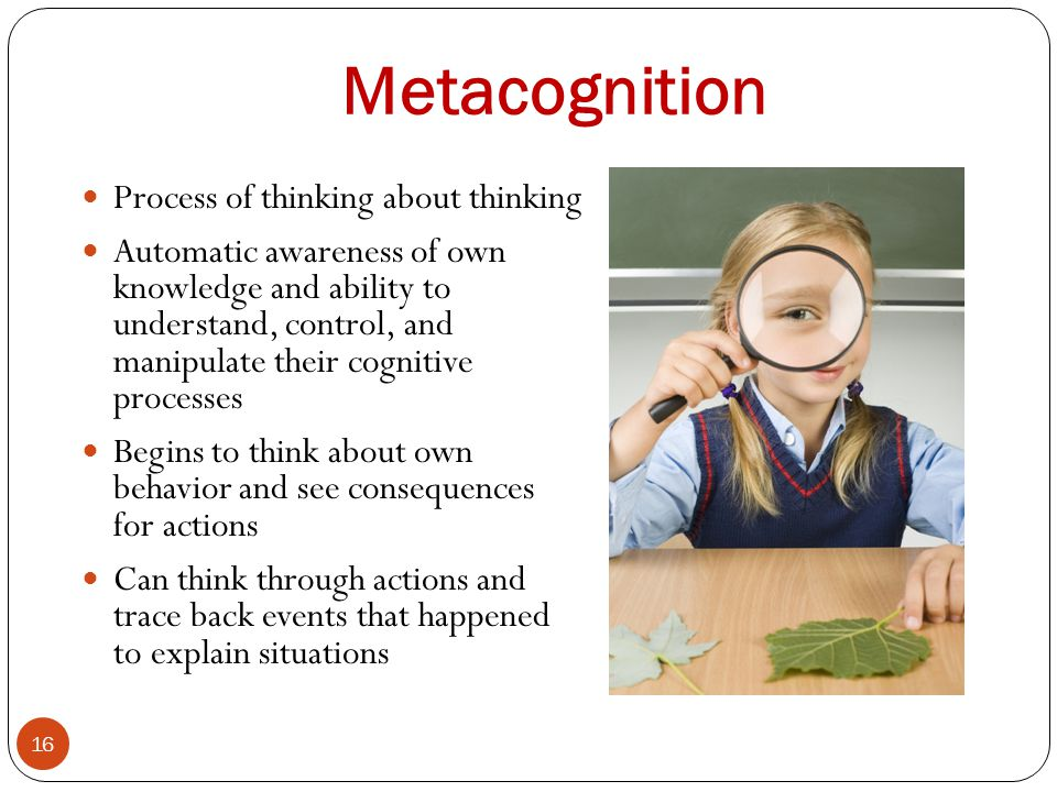 Metacognition Process of thinking about thinking