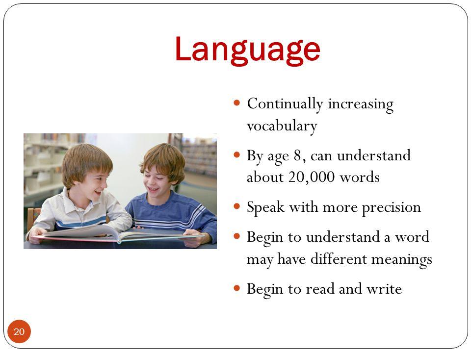 Language Continually increasing vocabulary