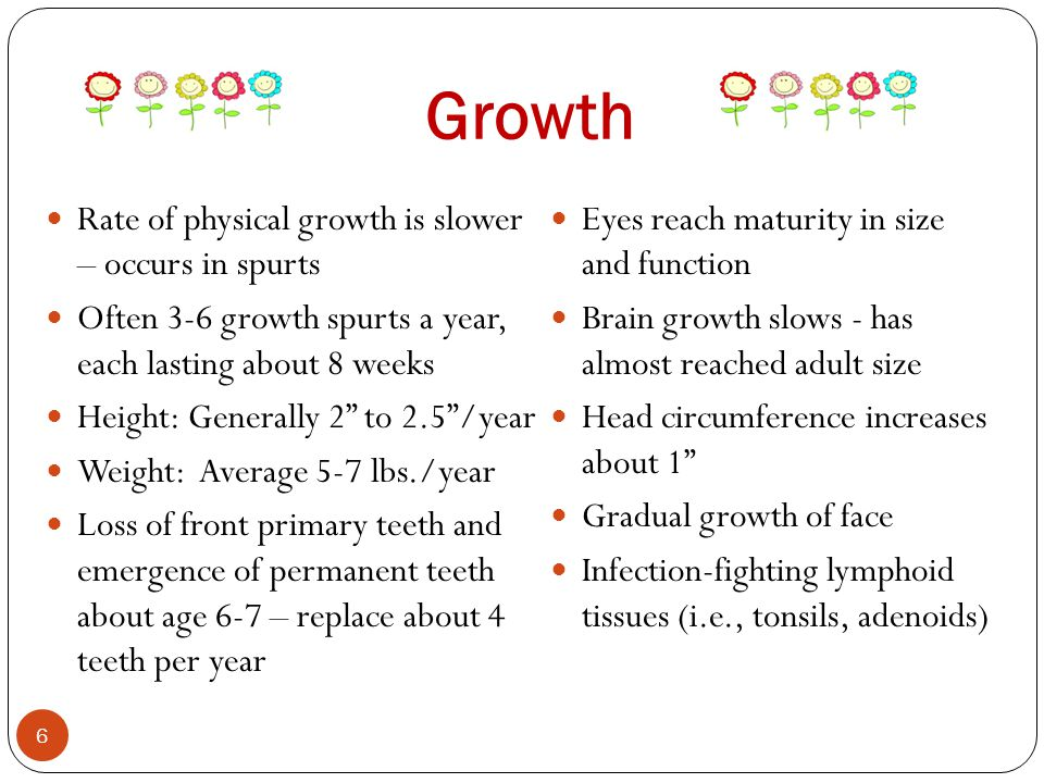 Growth Rate of physical growth is slower – occurs in spurts