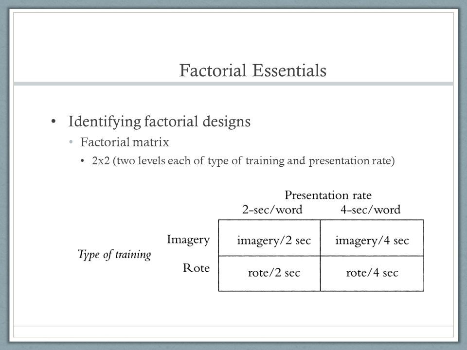 Factorial Essentials Identifying factorial designs Factorial matrix