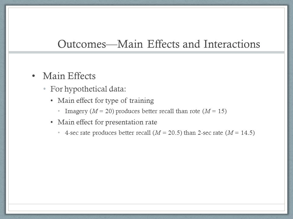 Outcomes—Main Effects and Interactions