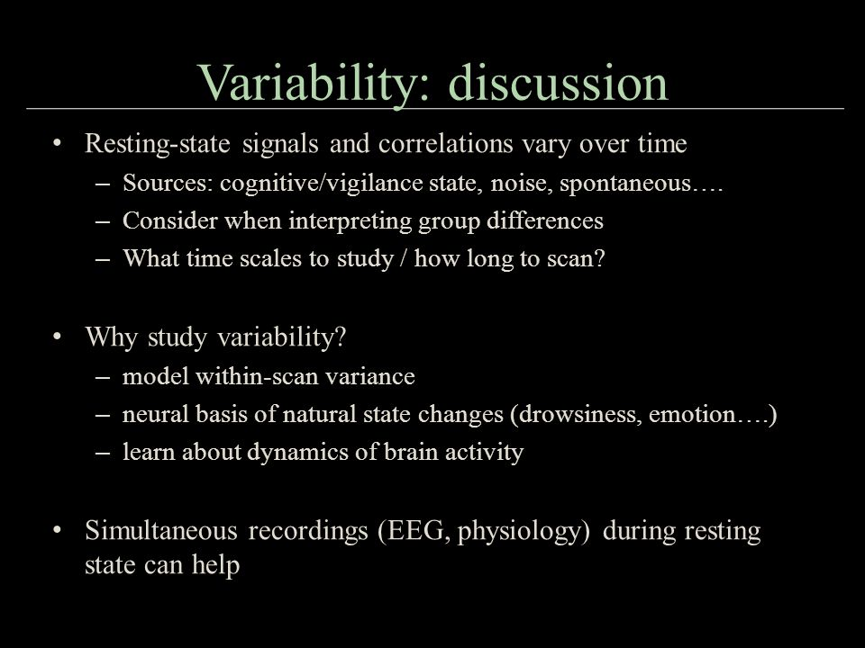 Variability: discussion