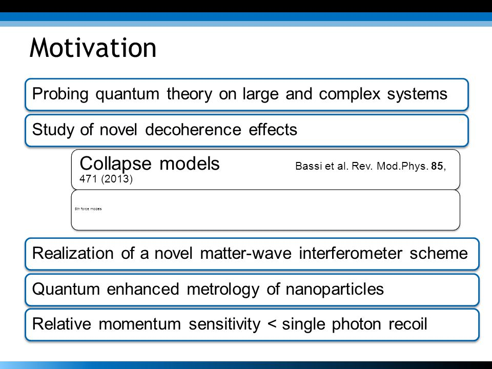 Motivation Collapse models Bassi et al. Rev. Mod.Phys. 85, 471 (2013)