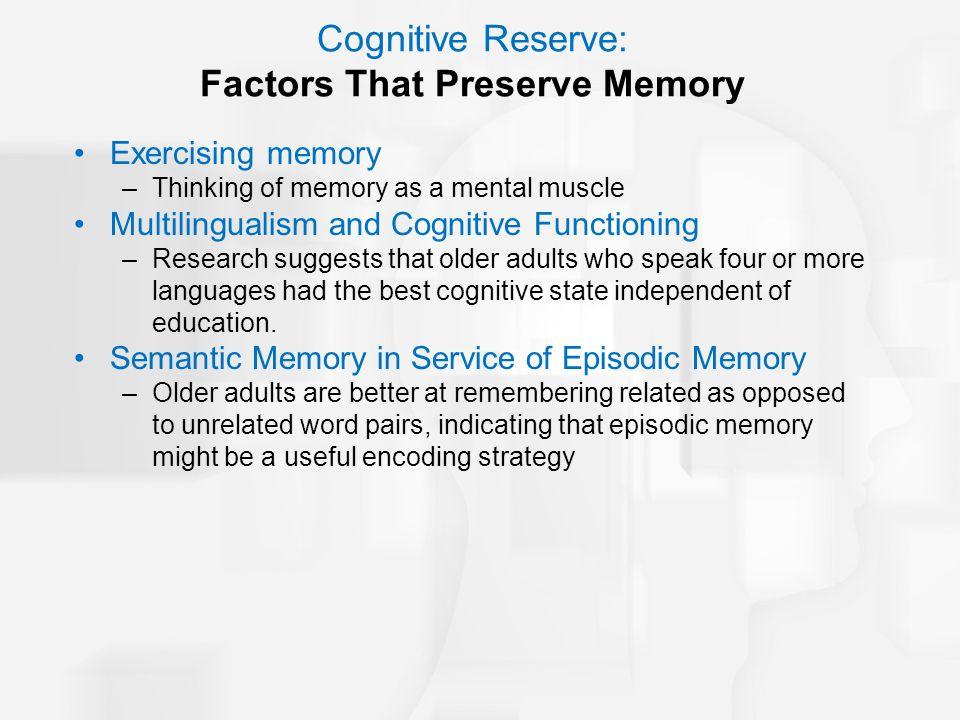 Cognitive Reserve: Factors That Preserve Memory