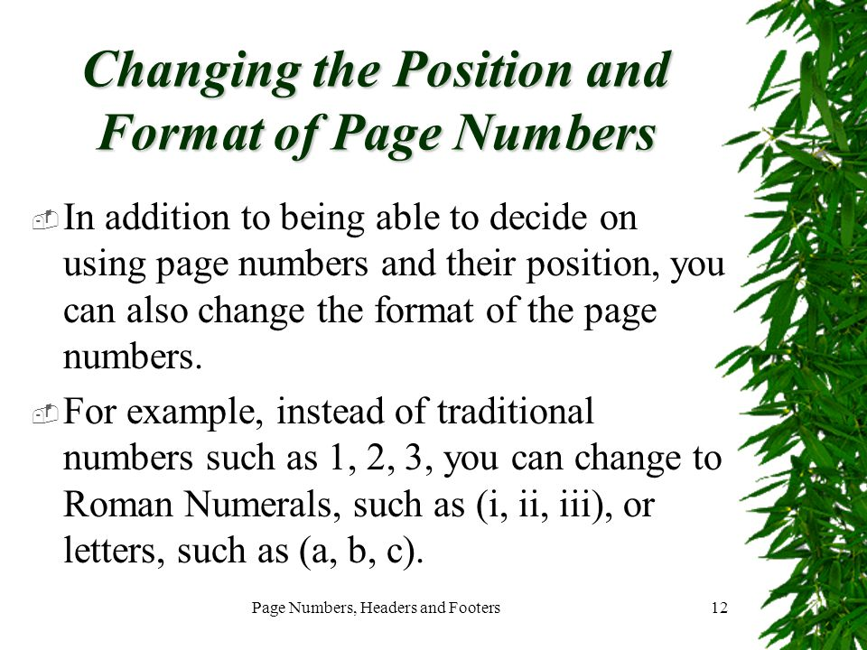 Changing the Position and Format of Page Numbers