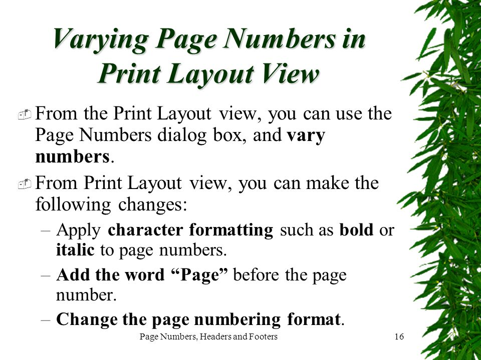 Varying Page Numbers in Print Layout View
