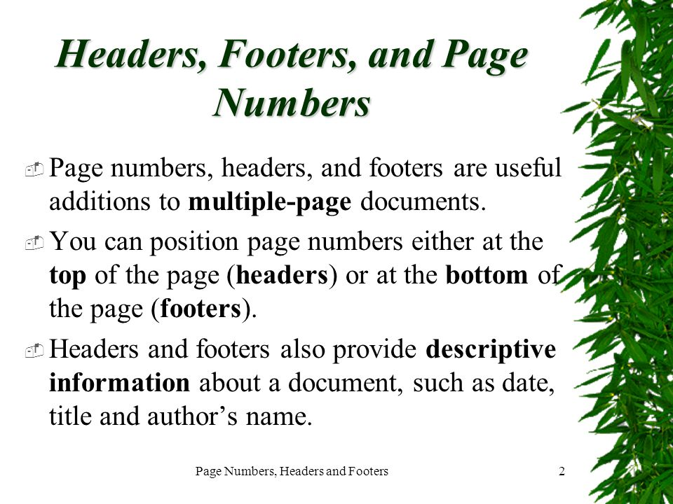 Headers, Footers, and Page Numbers