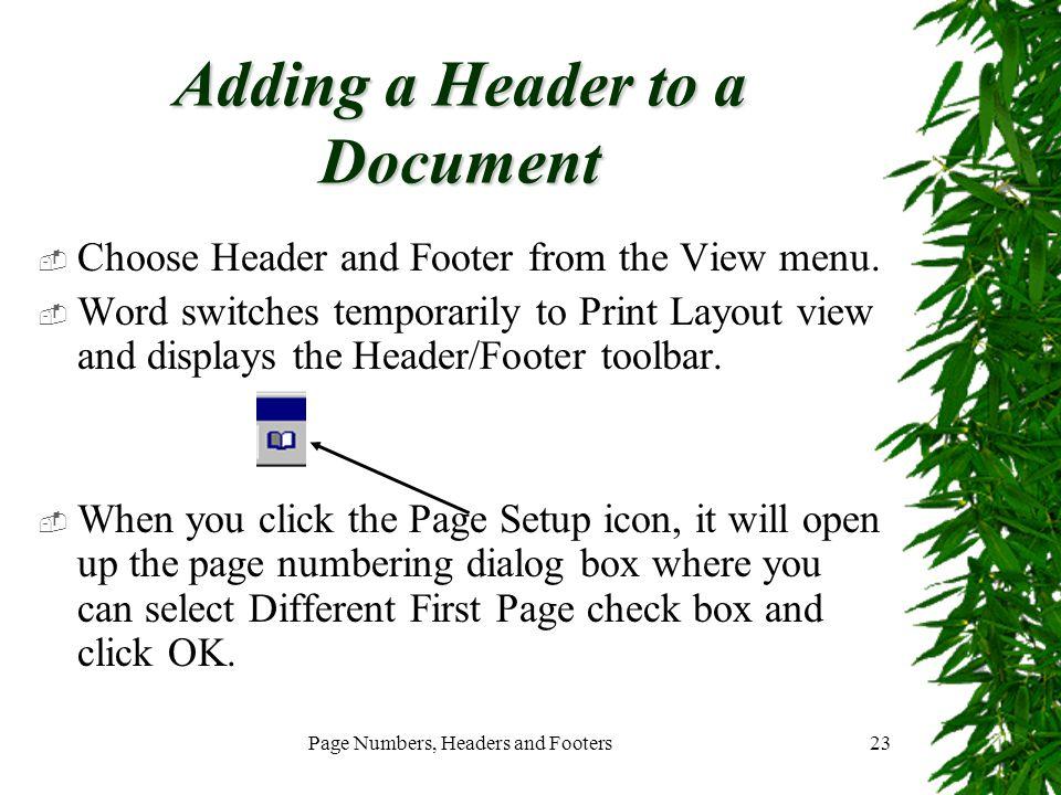 Adding a Header to a Document