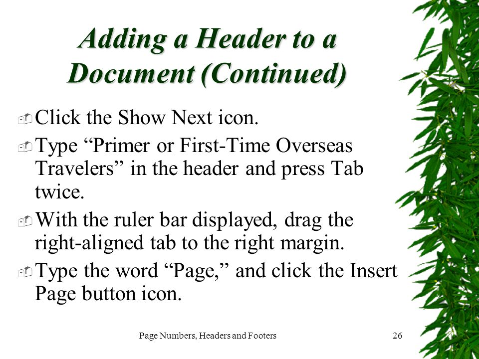 Adding a Header to a Document (Continued)