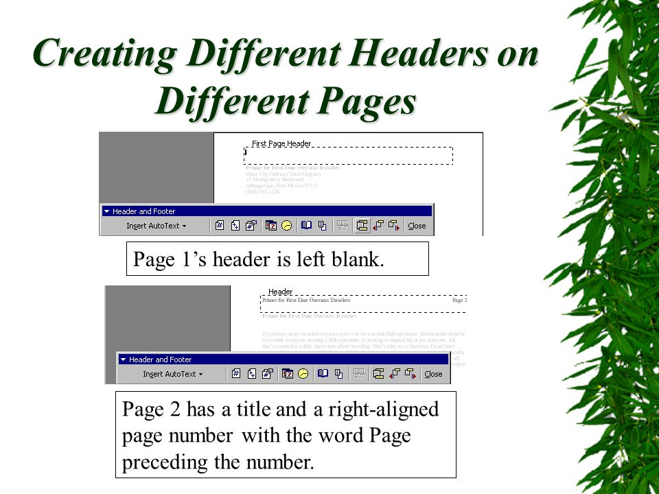 Creating Different Headers on Different Pages