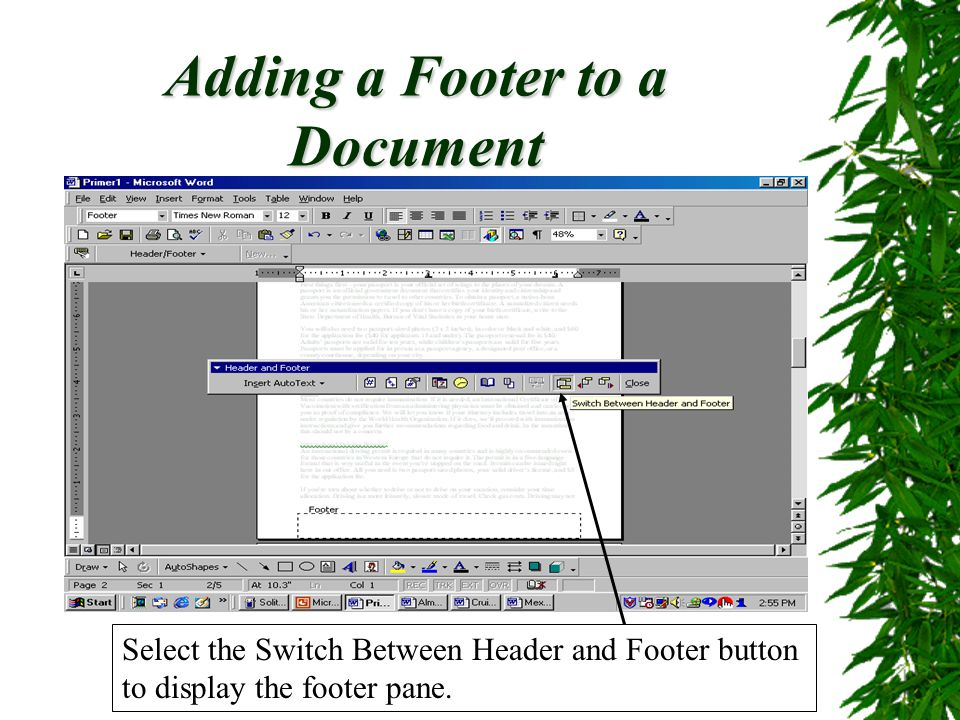 Adding a Footer to a Document