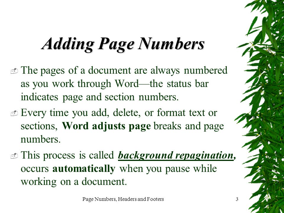 Page Numbers, Headers and Footers