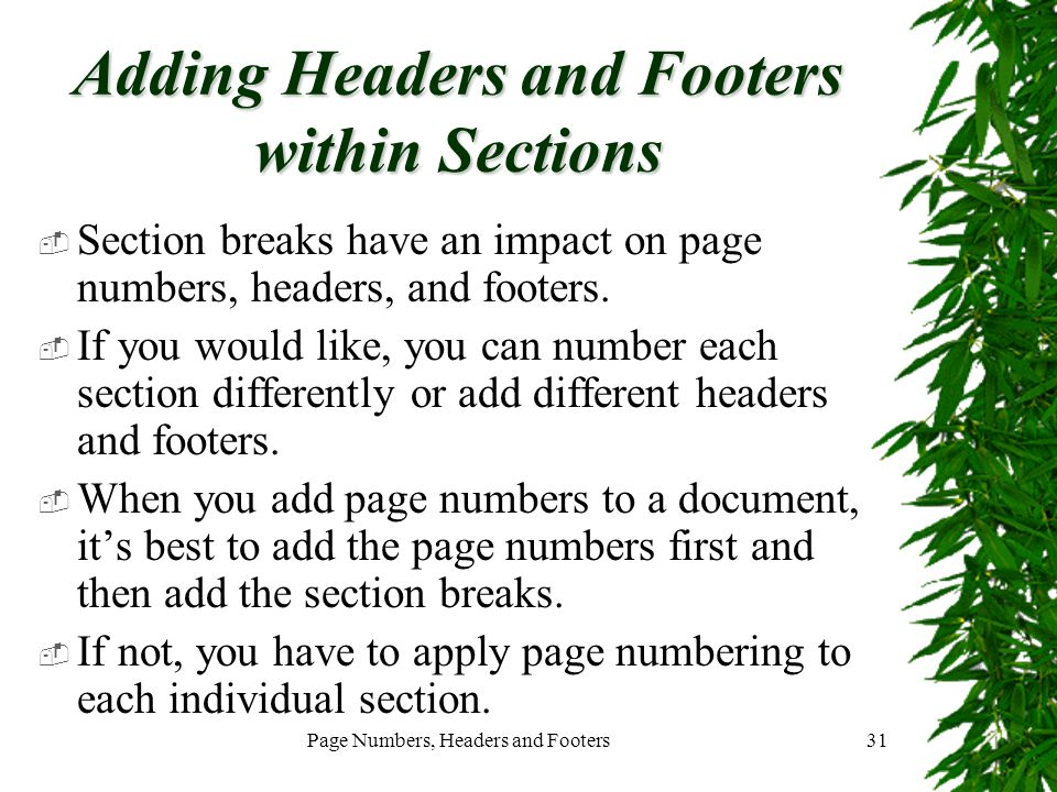Adding Headers and Footers within Sections