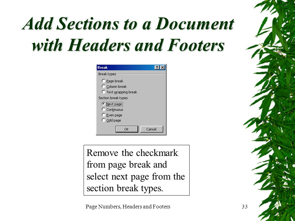 Add Sections to a Document with Headers and Footers