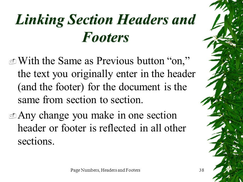 Linking Section Headers and Footers