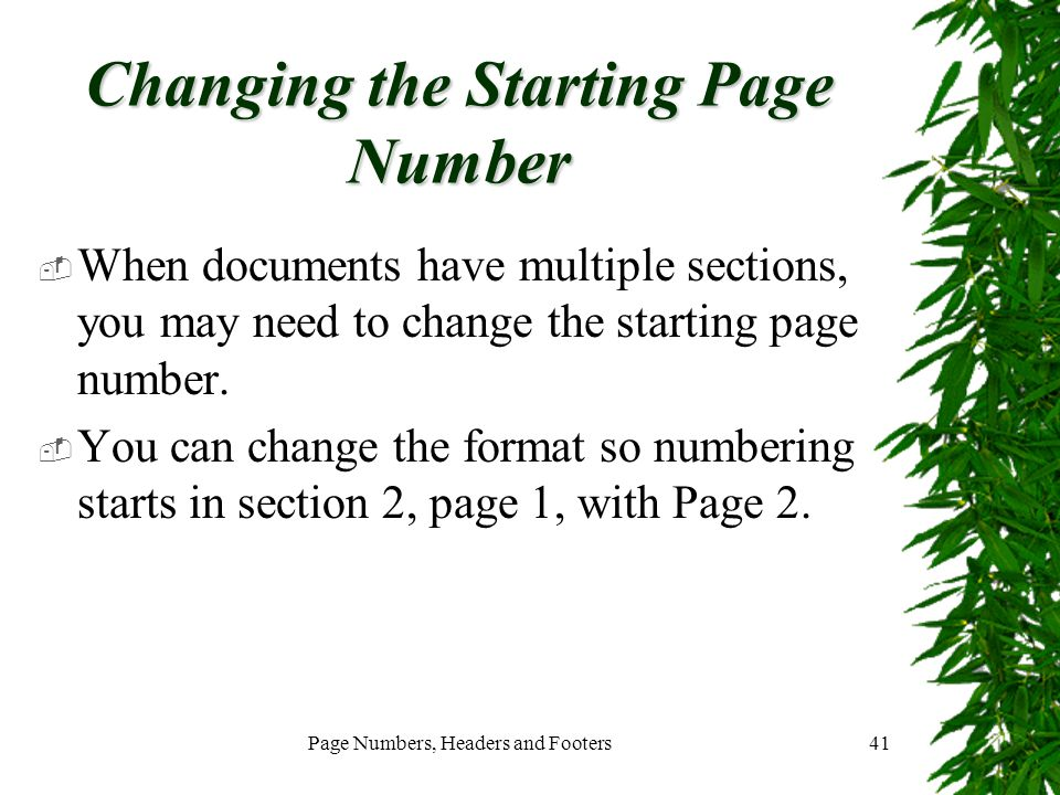 Changing the Starting Page Number