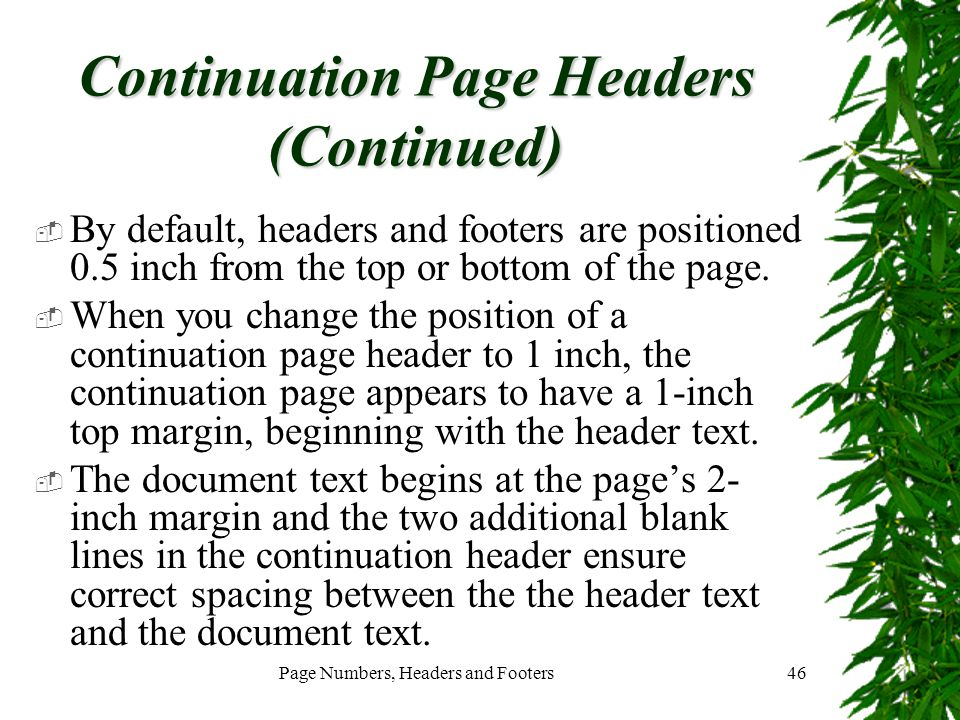 Continuation Page Headers (Continued)