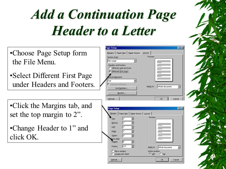 Add a Continuation Page Header to a Letter