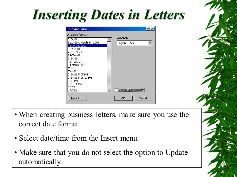 Inserting Dates in Letters